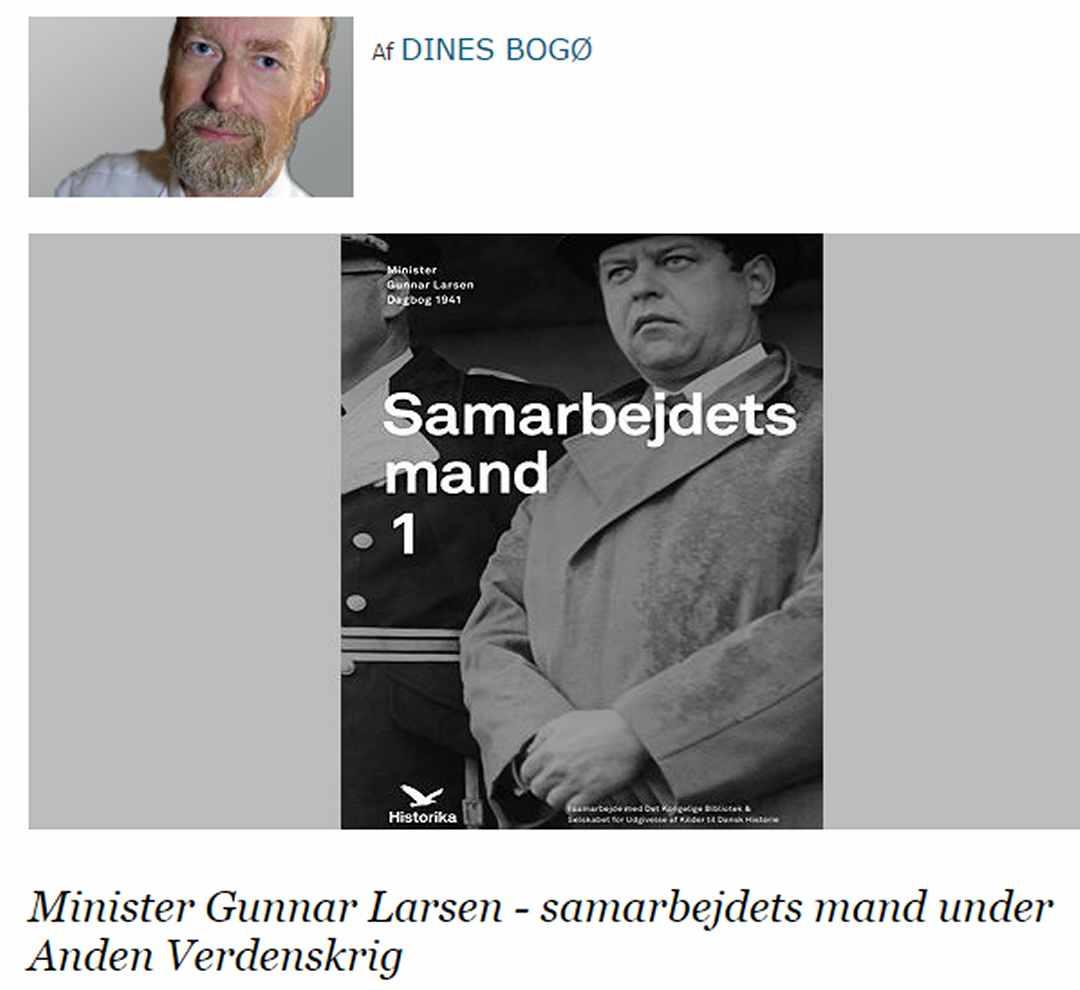 Minister Gunnar Larsen. Artikel af Dines Bogø